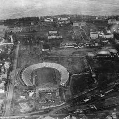 Aerial view of Camp Randall Stadium and construction site of Fieldhouse
