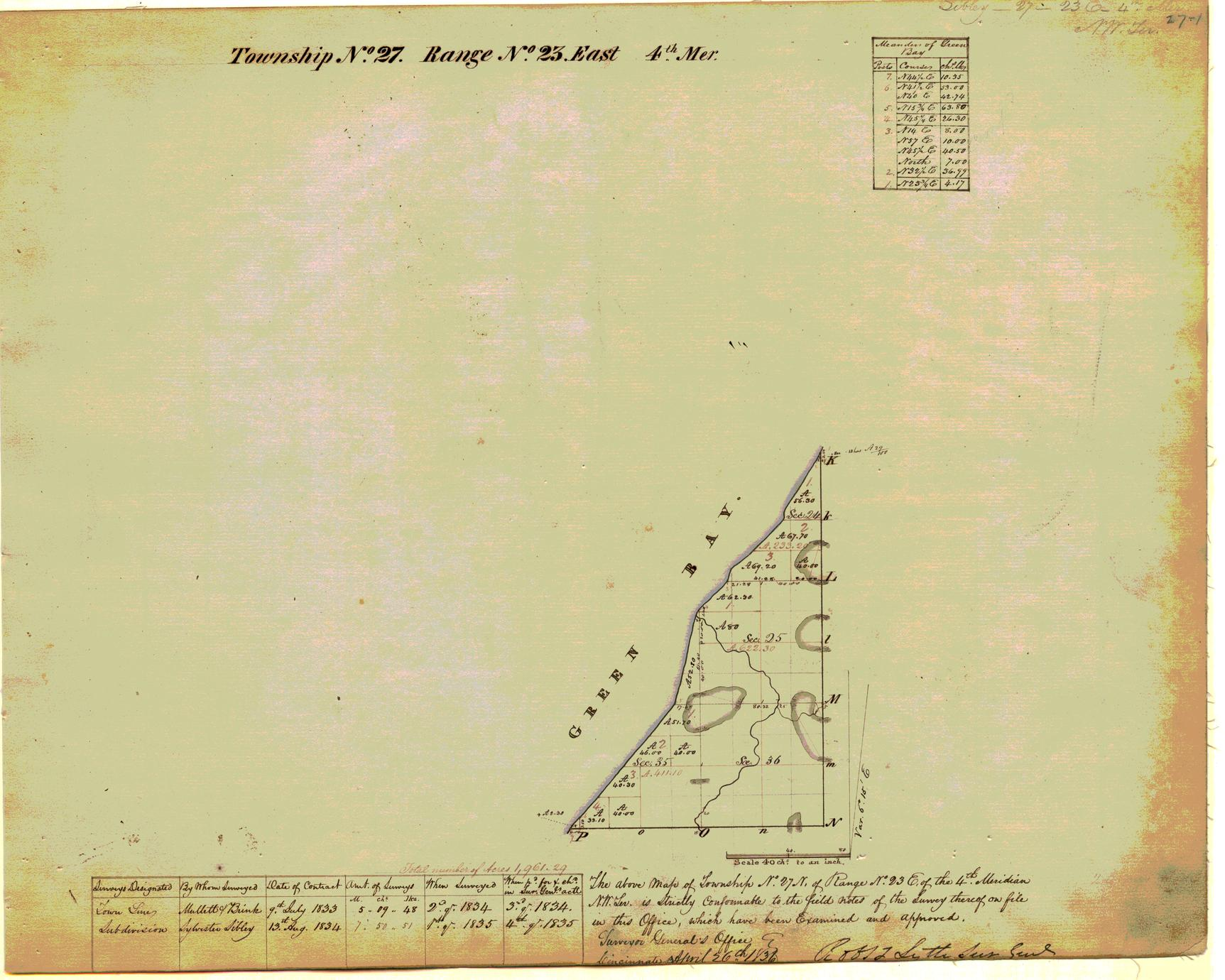 [Public Land Survey System map: Wisconsin Township 27 North, Range 23 East]