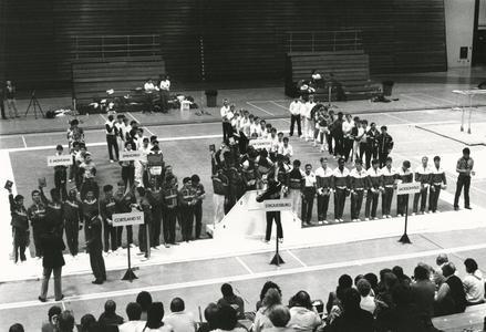 Men's gymnastics team at competition