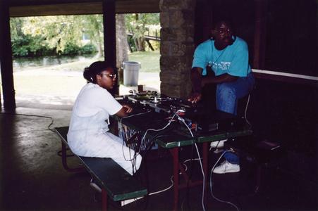 DJ at multicultural picnic in 1996