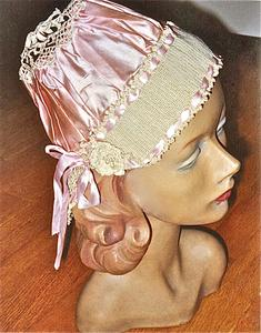 Pink silk satin and lavender crocheted boudoir cap