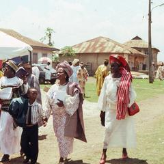 People leaving Thanksgiving service
