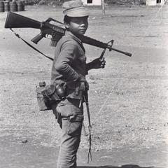 Nyaheun soldier in Houei Kong in Attapu Province