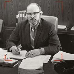 Former dean Gordon Goodrum at his desk