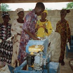 Putting cassava in equipment