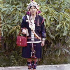 Akha woman in complete traditional dress in Houa Khong Province