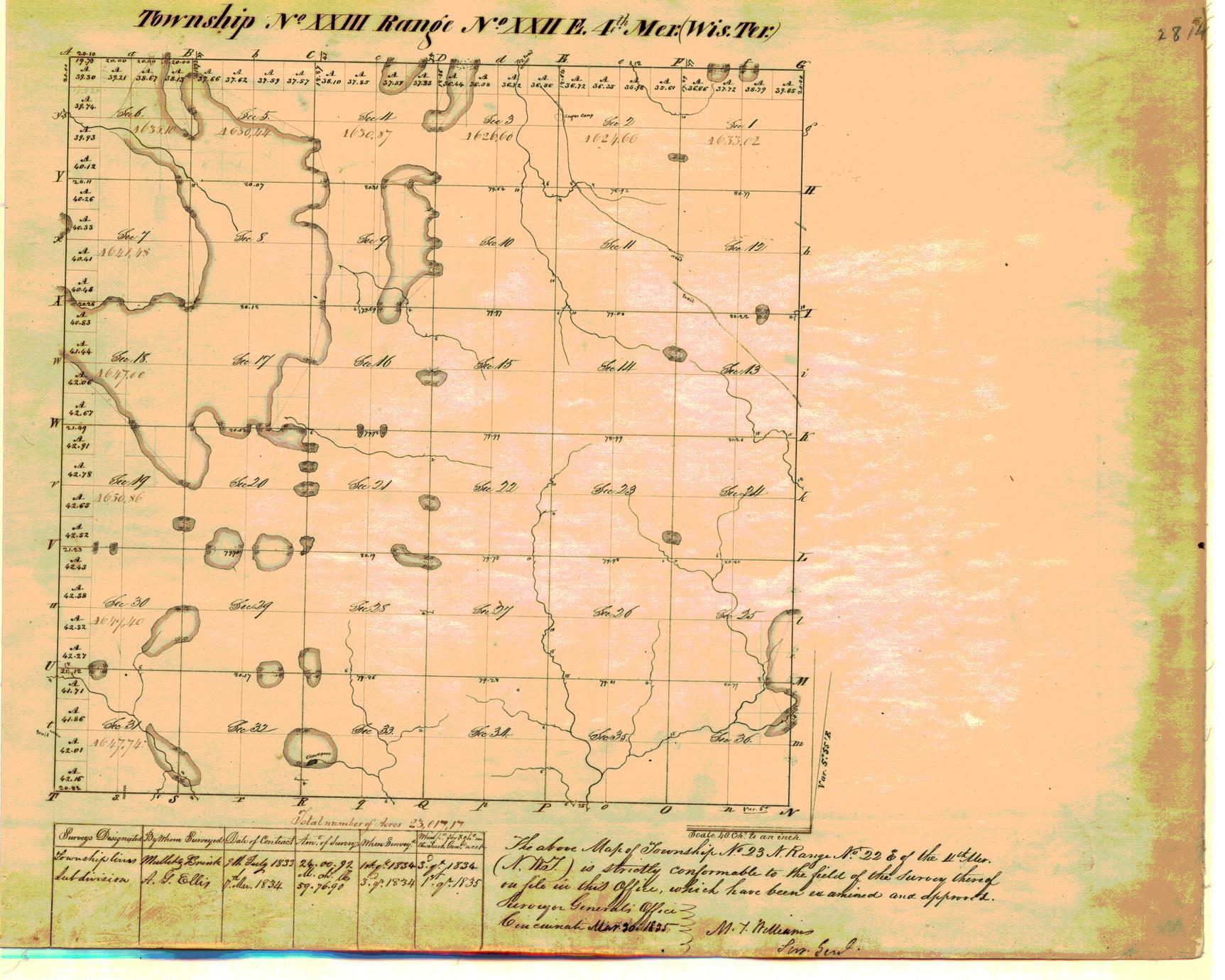 [Public Land Survey System map: Wisconsin Township 23 North, Range 22 East]