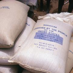 Close-Up Shot of Bags of American Donated Sorghum