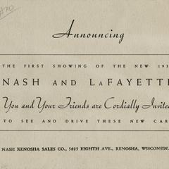Announcing the first showing of the new 1935 Nash and LaFayette