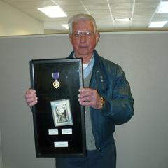 Wesley Field with his Purple Heart