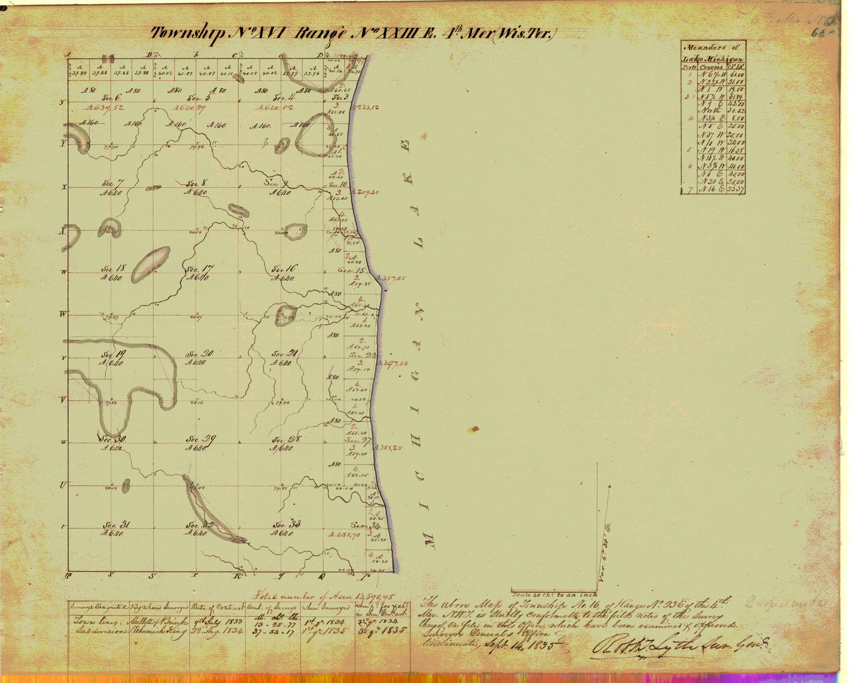 [Public Land Survey System map: Wisconsin Township 16 North, Range 23 East]