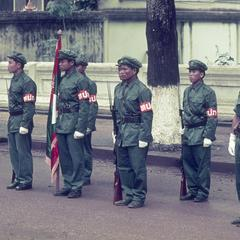 Soldiers of the Pathet Lao honor guard