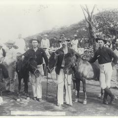 American soldiers and Filipinos with small horses, Cavite, 1899