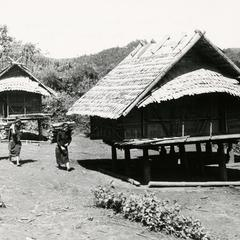 Rice storage sheds in the village of Pang Kwen in Houa Khong Province