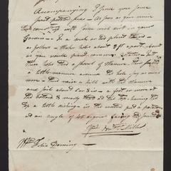 Letter from Nathaniel Miller, Fireplace, to Mr. Felix Dominy