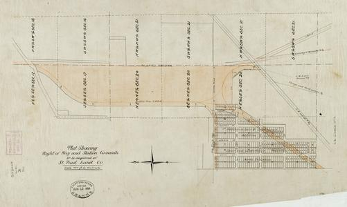 Plat showing right of way and station grounds to be acquired of St. Paul Land Company