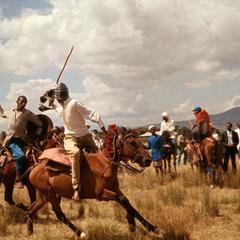 Oromo Men in Ceremonial Duel on Horseback