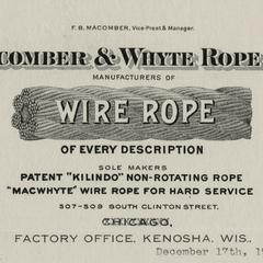 Macomber and Whyte Rope Company letterhead