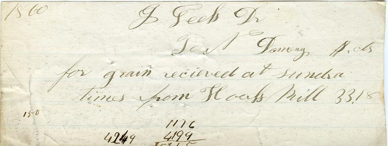 Bill from Nathaniel Dominy VII to G. Leels, 1860