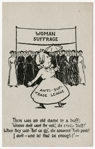 Anti-suffrage league poem, suffrage postcard