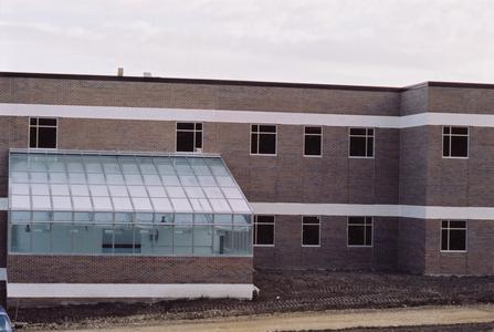 Campus greenhouse and science wing, looking north