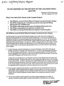 Status report on the review of the Crandon Mine : April 1999