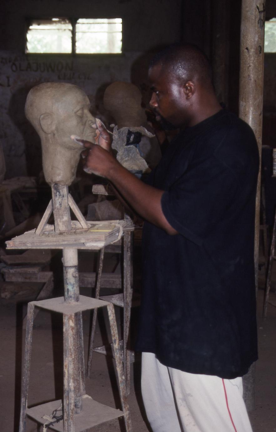 Student with sculpture