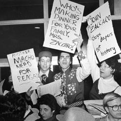 """Macho Nerds for Reagan"" at Ferraro rally"