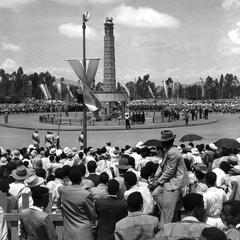 Crowd along Parade Route during Anniversary of Emperor's Coronation