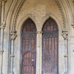 Wells Cathedral exterior north porch doorway