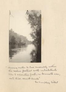 """Last page of """"Voyage of Discovery,"""" journal page with photo and handwritten quotation from Sir Humphrey Gilbert, 1922"""