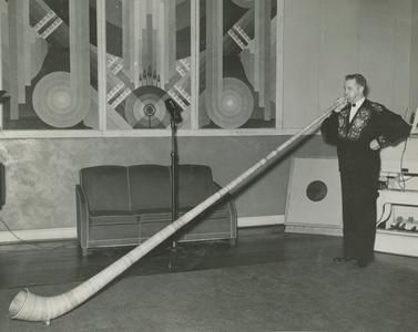 Franz Hug playing an Alpine horn