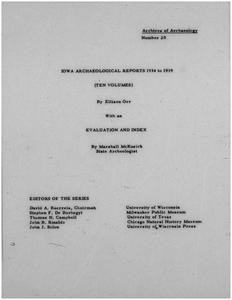 Iowa archaeological reports 1934 to 1939 : Evaluation and index
