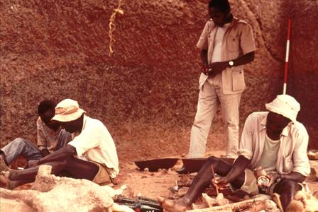 Workers Excavating a Fossil in Olduvai Gorge