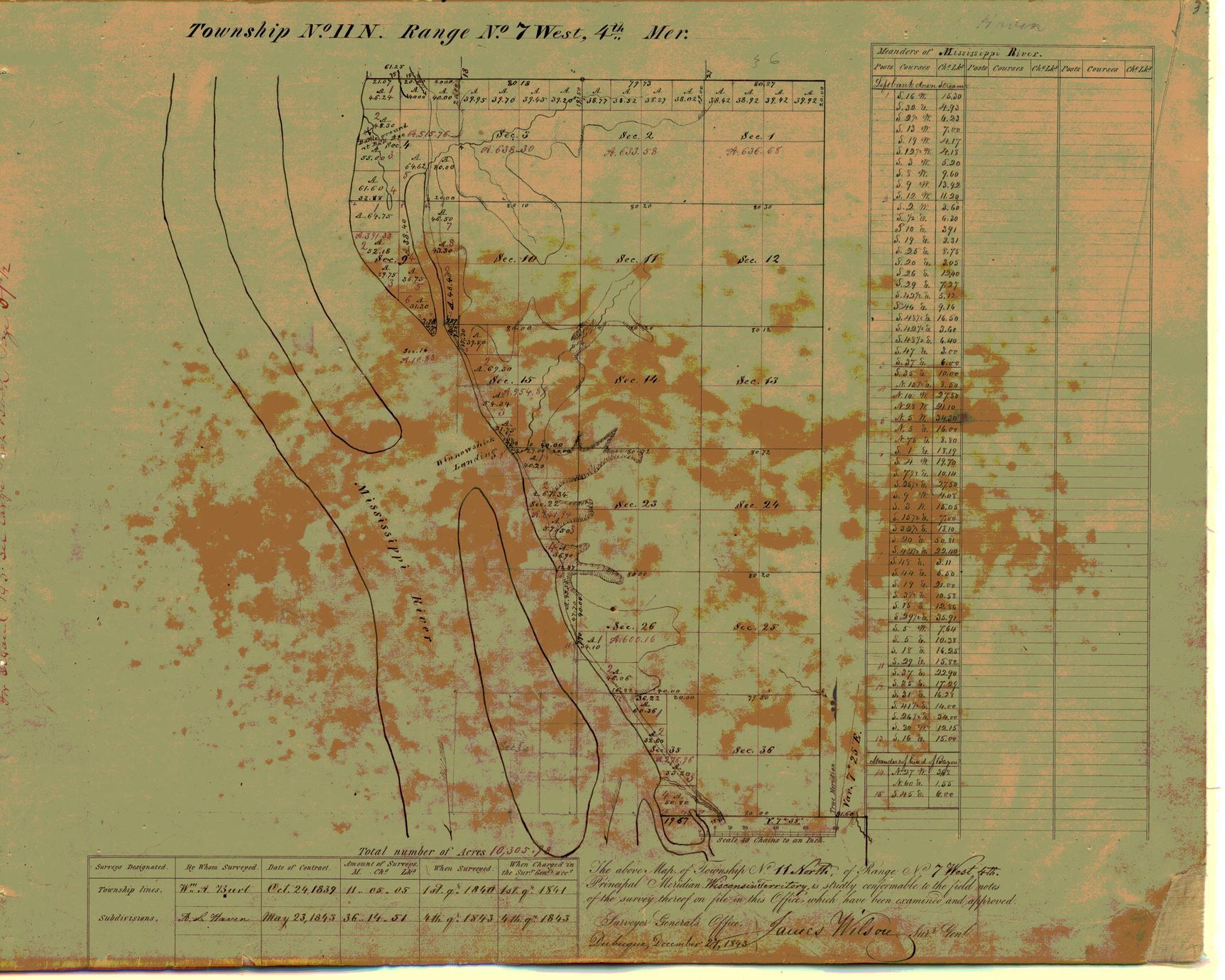 [Public Land Survey System map: Wisconsin Township 11 North, Range 07 West]