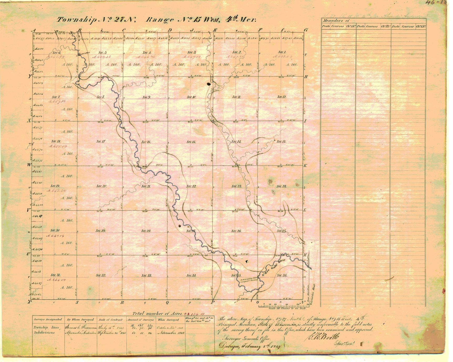 [Public Land Survey System map: Wisconsin Township 27 North, Range 15 West]