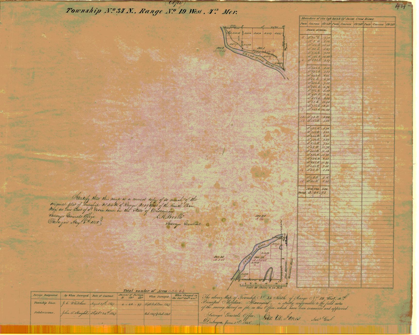 [Public Land Survey System map: Wisconsin Township 34 North, Range 19 West]