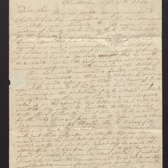 Letter from Abm P. Sherrill to Major Felix Dominy, 1834