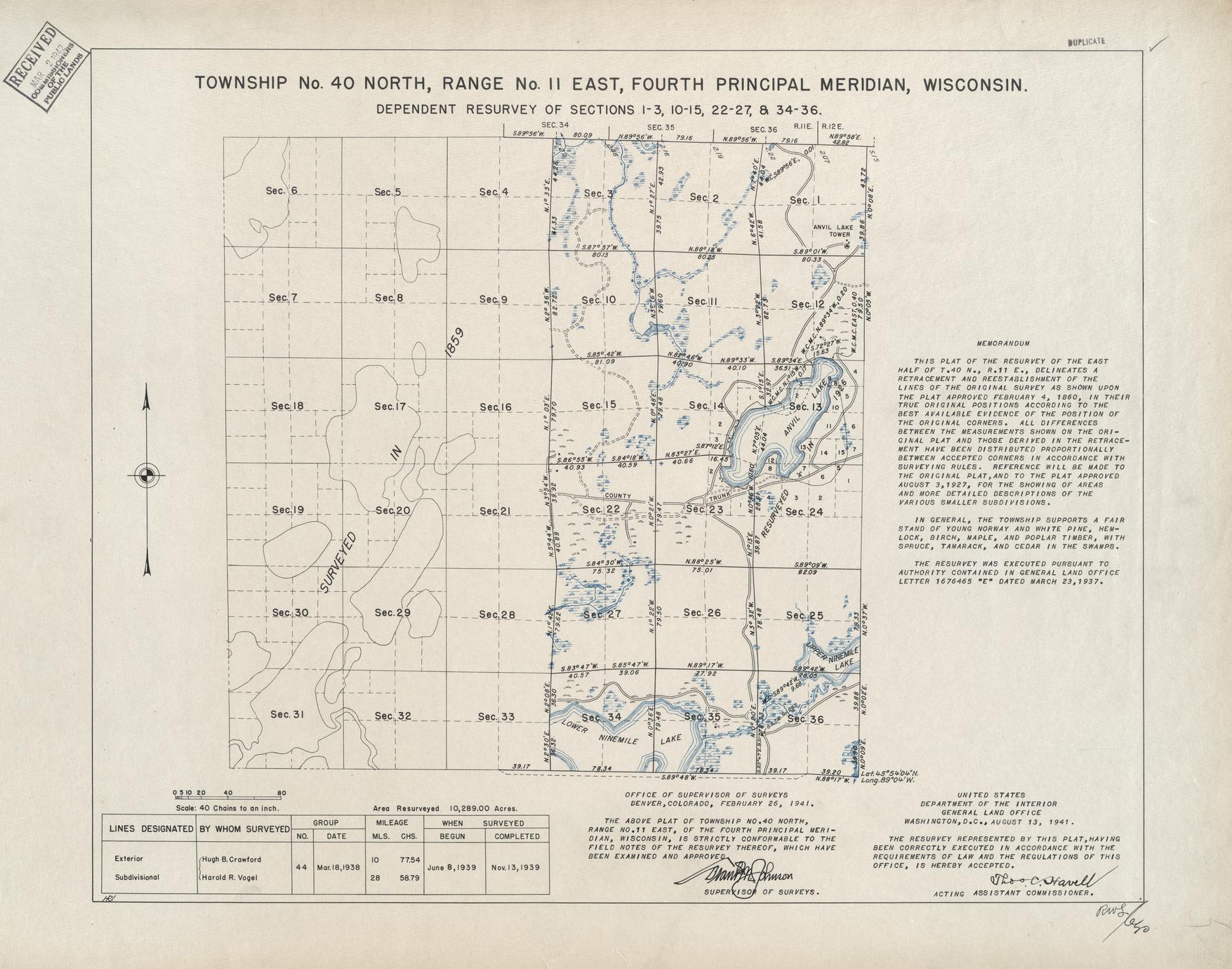 [Public Land Survey System map: Wisconsin Township 40 North, Range 11 East]