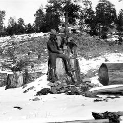 "With dog ""Flip"" at the abandoned Irwin claim, Apache, 1910 (snowy scene)"