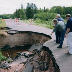 Flooding and road collapse