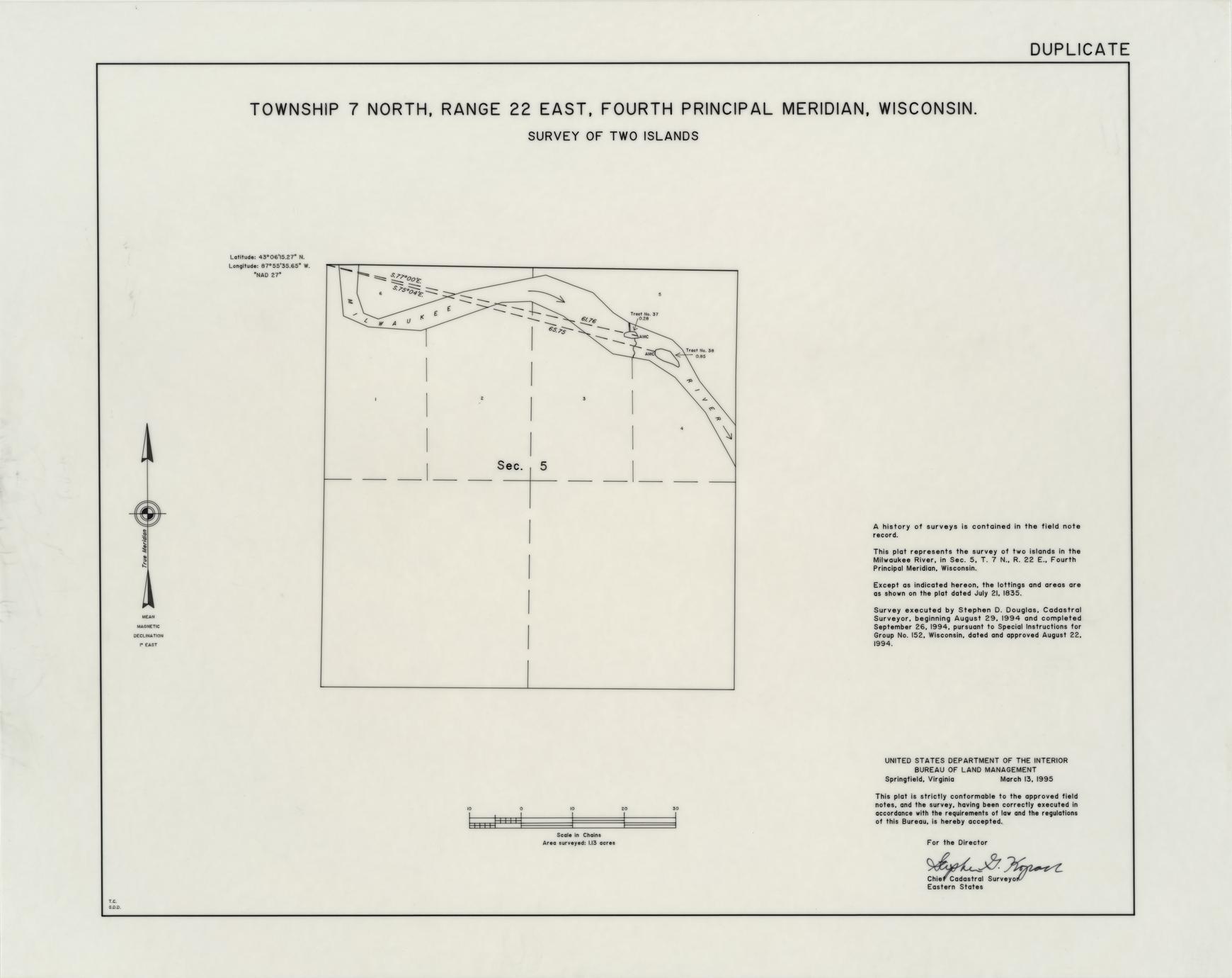 [Public Land Survey System map: Wisconsin Township 07 North, Range 22 East]