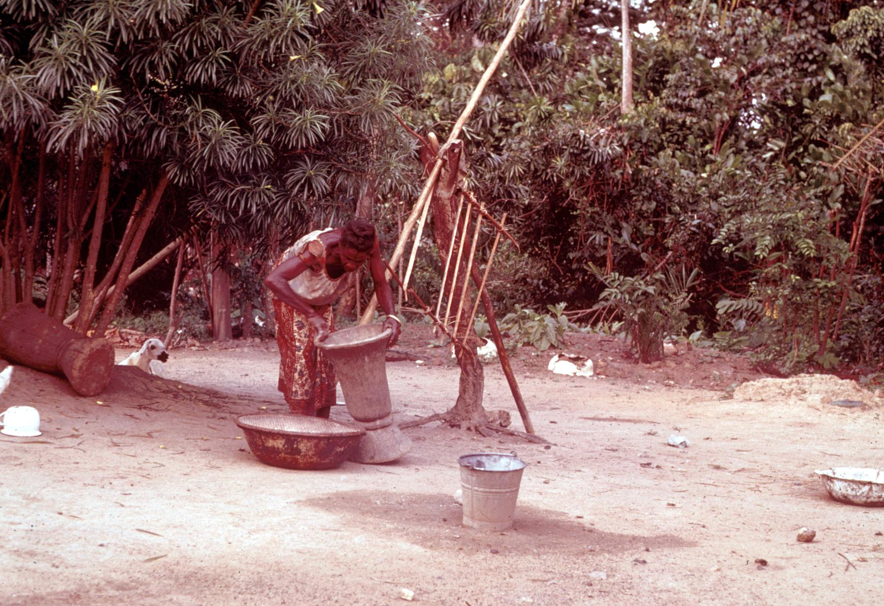 Woman Fanning Pounded Rice to Remove Chaff
