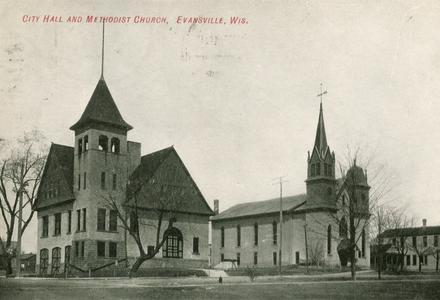 City Hall and Methodist Church, Evansville, Wisconsin