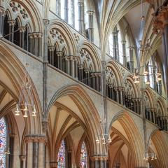 Lincoln Cathedral nave north clerestory, gallery and arcade