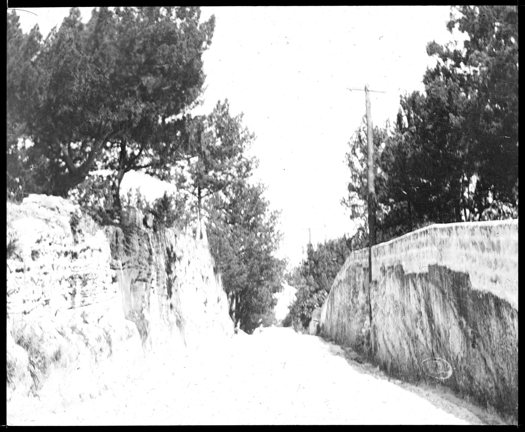Rock cut in road