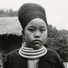Blue Hmong (Hmong Njua) woman in a village in the vicinity of Muang Vang Vieng in Vientiane Province.