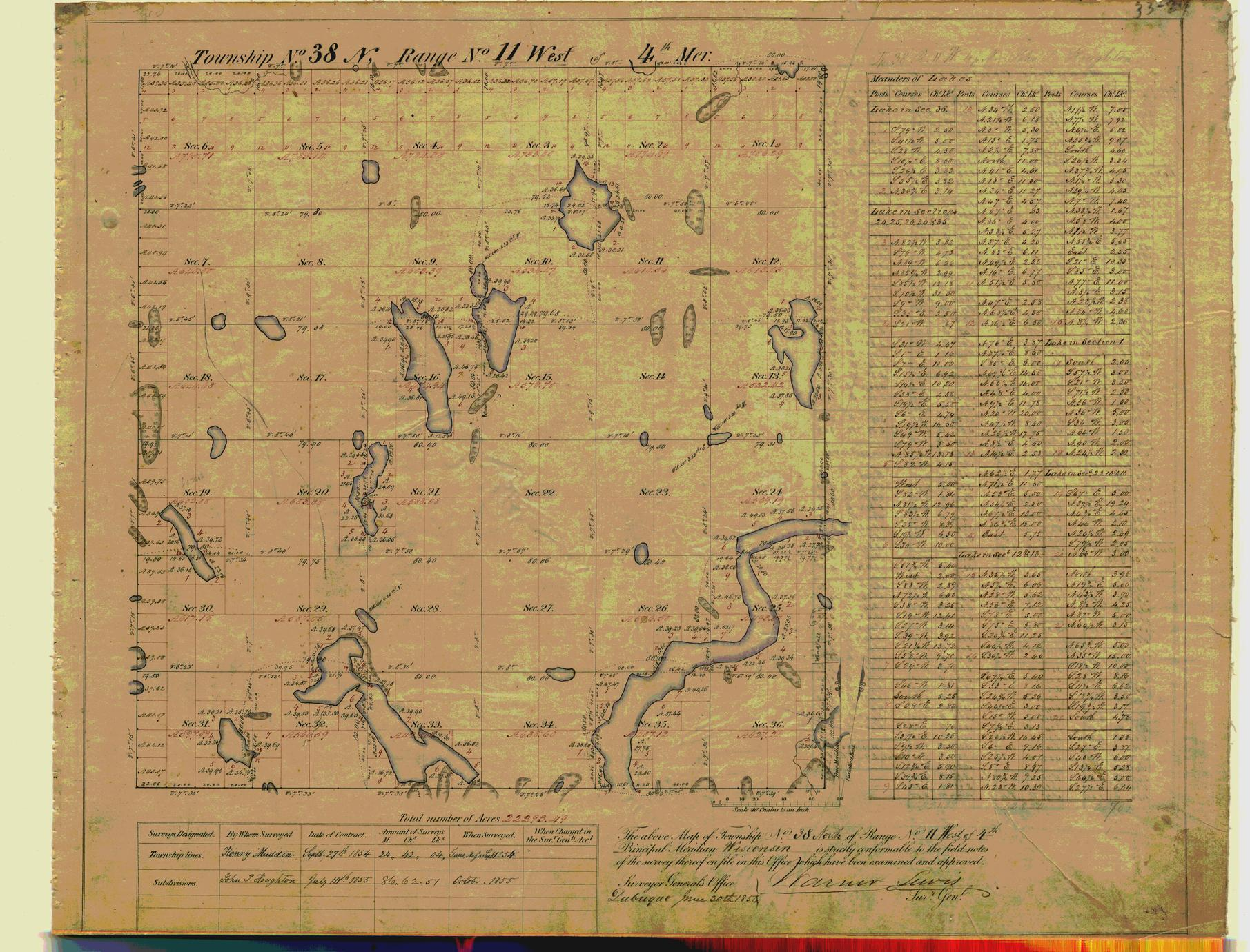 [Public Land Survey System map: Wisconsin Township 38 North, Range 11 West]