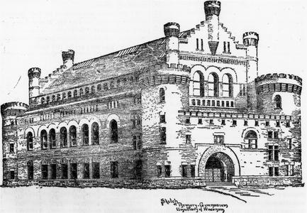 Architect's drawing of the Armory and Gymnasium