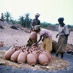 Women Preparing Water Pots for Firing